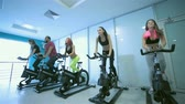 atleta : Group exercises in the gym. Five sports friends pedaling and looks in front of a stationary bicycles at the gym. Athletes dressed in sports clothes
