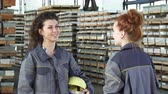 упаковка : Young happy female engineer smiling joyfully talking to her colleague high fiving cheerfully celebrating success. Women factory workers. Coworkers communication. Celebration gesturing. Стоковые видеозаписи