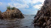 входящий : Oncoming sea waves with sea foam washing-down rocky coast with plants during tide under blue cloudy sky, ground swell splashes. Ground sea waves breaking against rocks and flowers washing stone shore Стоковые видеозаписи
