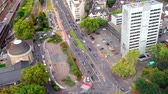 heavy : Heavy traffic of cars on the city street, the top view