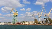 heavy : harbor cranes Sevastopol bay. Crimea, Russia Stock Footage