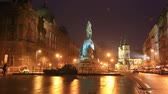 knight : Grunwald Monument on Jana Matejki Square at night, Krakow Stock Footage