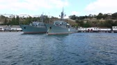 sevastopol : ships of the Russian navy stand on  anchor parking in Southern bay Stock Footage