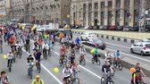 j��zda na kole : Cyclists on the Moscow cycle parade. Over 20 000 people took part in cycle parade