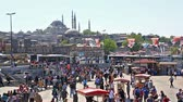 ahmet : General view at crowded Golden Horn, The Galata bridge and embankment in sunny day. Stock Footage