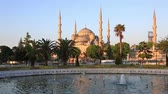 ahmet : Scenic view at fountain and The Blue Mosque in summer Instanbul, Turkey Stock Footage