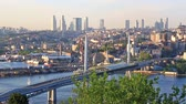 ahmet : Urban scenery of Golden Horn with The Galata bridge and day transport traffic in sunny day Stock Footage