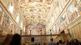Last Judgment in Sistine Chapel one of masterpiece of Michelangelo Buonarroti circa Stock Footage