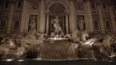 Fountain of Trevi in ??Rome at night, Italy Stock Footage