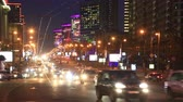 Moscow, Russia - May, 3, 2015: New Arbat Street, highway with moving cars at the night in Moscow, Russia