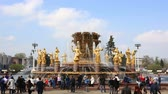 Moscow, Russia - May, 2, 2015: The Friendship of Nations fountain, VDNKh, Moscow, Russia. 16 golden sculptures represent republics of the Soviet Union.