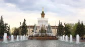 Moscow, Russia - May, 2, 2015: Pavilion of Ukraine, Stone Flower fountain. This fountain was built in 1954. Stock Footage