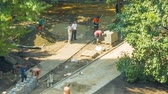 garden : Construction work on the paving laying in the park Stock Footage