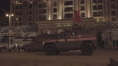 színházi próba : MOSCOW RUSSIA - MAY 3 main battle tanks move in motorcade on Tverskaya Zastava square during night rehearsal of parade devoted to Victory Day on May 9, 2018 in Moscow.