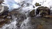 pellets : Frozen stream with ice. Spring river and snow. Cold water flows in the river ice. SlowMotion 240 FPS
