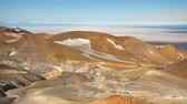 death valley : Panorama of the slope of Ebeko volcano on Paramushir Island. Kuril Islands, Russia Stock Footage