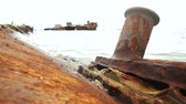 tehlikeli : Graveyard of ships on the port of Sakhalin Island Stok Video