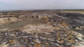 pit mine : Aerial view.  A place for the storage of the slag. Large slag mountains.  Aerial shot. UHD