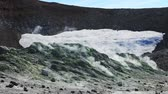 Volcanic activity, sulfur fumarole and hot gas on the slope of Ebeko volcano, Northern Kuriles, Paramushir Island