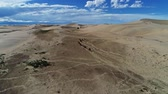 ouvido : Heard of horses on barkhans in Mongolia sandy dune desert Mongol Els near lake Durgen Nuur. Khovd province, Western Mongolia. Stock Footage