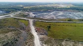 グリット : Aerial view of the large industrial quarry. 4k video