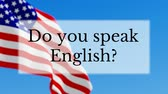 nagy britannia : Do you speak English text w British flag background. Learn English language concept