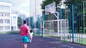 basket ball : Dad and son play basketball. Healthy lifestyle.