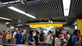 commute : Hong Kong, Hong Kong S.A.R.-June 3, 2017: Commuters in subway station in Hong Kong Stock Footage