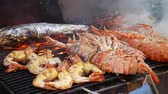 barbequed : Grilling lobsters