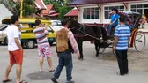 реликвия : Lampang, Thailand-October 3, 2015: Horse-Drawn Carriages waiting for tourists outside Temple of Lampang's Great Buddha Relic. Some tourists visit the temple. The Lampang is famous for its horse-drawn carriages