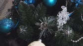 anno : Christmas tree decorated with beautiful blue and whiten toys