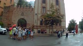 abbey : Montserrat, Spain - August 18, 2018: Santa Maria de Montserrat in Monistrol, in a beautiful summer day, Catalonia, Spain