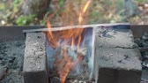 spurt : burning coal for heating Stock Footage