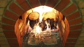 above fire : Above view of the wooden fireplace in rural house