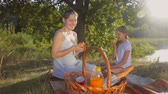 Happy smiling mother giving apple to her daughter on the picnic at park Stock Footage
