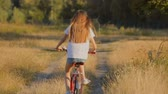 Rear view of beautiful brunette girl riding bicycle on field at sunset