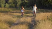 Rear view shot of young woman riding bicycle with her daughter through field at sunset