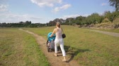 Beautiful young woman pushing pram on the path at park