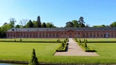 imperial : Beautiful park with perfect green lawn in old european palace