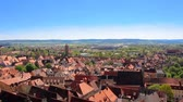 терракота : Footage of old european town with tiled red roof tops at bright sunny day Стоковые видеозаписи