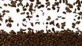 moka : 3d rendered animation of roasted coffee beans falling over white background and revealing word Coffee