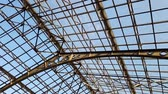 транспорт : 4k footage of beautiful metal roof with glass windows at vintage railway station
