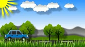багаж : Cartoon car rides on the road. The green landscape. Moving trees, grass, clouds, sun. Looped video.
