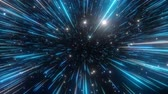 starburst : Abstract hyperspace background. Speed of light, neon glowing rays and stars in motion. Blue version. Moving through stars. 4k Seamless loop Stock Footage