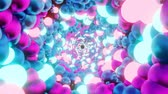 Abstract corridor of metal and glowing neon balls. Seamless 4K looped animation.