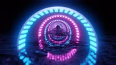 VJ Loop neon digital tunnel. Abstract fluorescent background. Neon background. 4K animation loop. 動画素材
