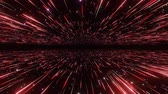 Abstract hyperspace background. Speed of light, neon glowing rays and stars in motion. Red version. Moving through stars. 4k Seamless loop