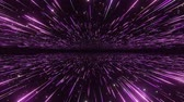Abstract hyperspace background. Speed of light, neon glowing rays and stars in motion with space for logo or text. Violet version. Moving through stars. 4k Seamless loop
