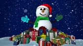graphic : Snowman with many presents at snowfall background