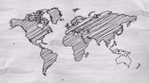aletsiz : World Map Drawing alpha matte - 4K Resolution (Ultra HD) Stok Video